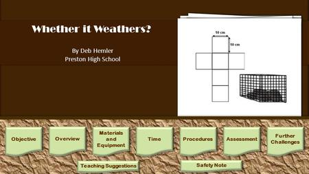 Whether it Weathers? By Deb Hemler Preston High School 1.Assign students into 12 groups, for each group mass one each of the limestone, shale, and sandstone.