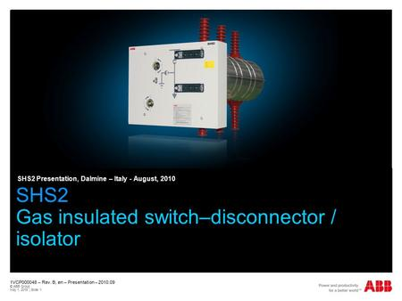 SHS2 Gas insulated switch–disconnector / isolator
