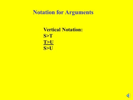 Notation for Arguments Vertical Notation: S>T T>U S>U.