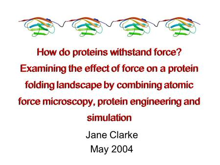 Jane Clarke May 2004 How do proteins withstand force? Examining the effect of force on a protein folding landscape by combining atomic force microscopy,