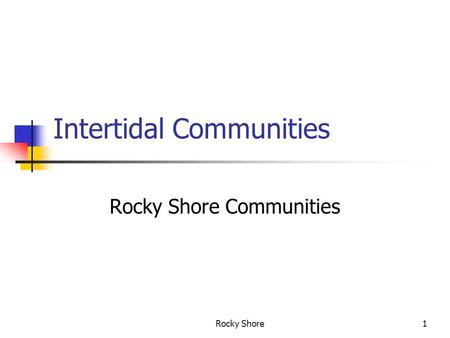 Rocky Shore1 Intertidal Communities Rocky Shore Communities.