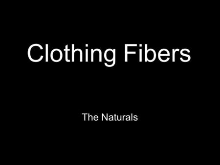 Clothing Fibers The Naturals. Cotton Source of Cotton The cotton plant –Fibers are formed in the seed pods as the plant ripens.