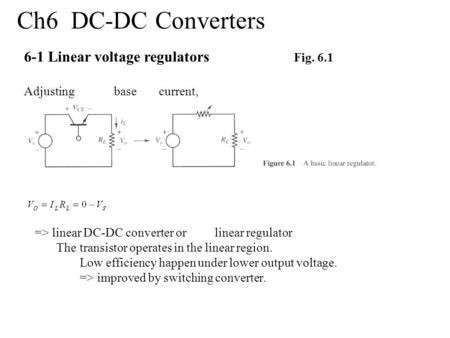 Ch6 DC-DC Converters 6-1 Linear voltage regulators Fig. 6.1 Adjustingbasecurrent, => linear DC-DC converter orlinear regulator Thetransistor operates in.