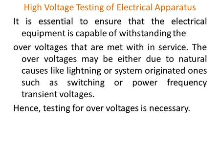 High Voltage Testing of Electrical Apparatus