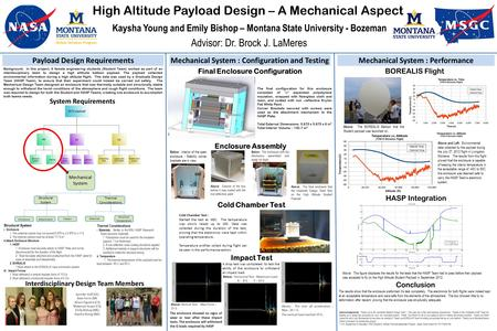 High Altitude Payload Design – A Mechanical Aspect Kaysha Young and Emily Bishop – Montana State University - Bozeman Advisor: Dr. Brock J. LaMeres Mechanical.