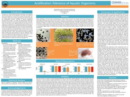 Methods Acidification Tolerance of Aquatic Organisms Analysis Conclusion & Applications Data & Observations Introduction Different species respond to low.