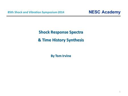 Shock Response Spectra & Time History Synthesis