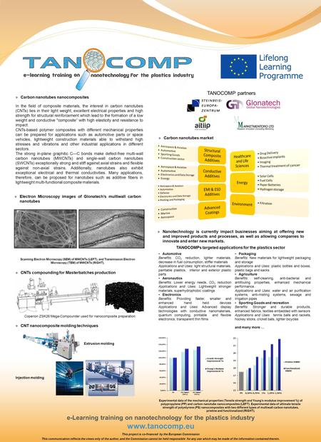 E-Learning training on nanotechnology for the plastics industry www.tanocomp.eu In the field of composite materials, the interest in carbon nanotubes (CNTs)