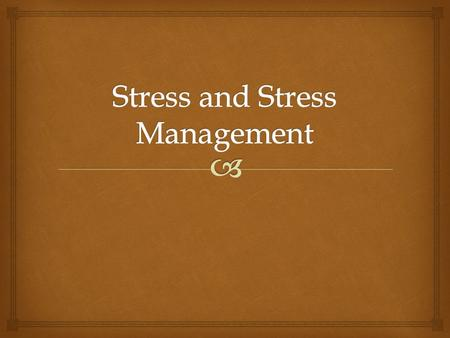   How Well Do You Resist Stress?  Let's find out! STRESS SURVEY.