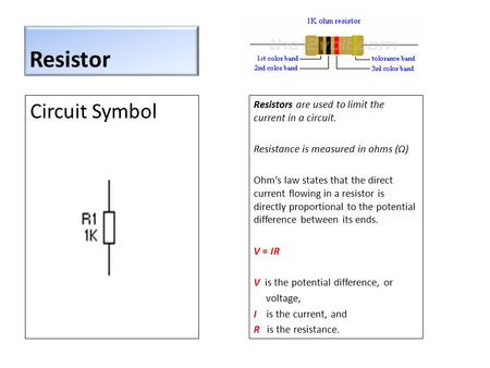 Resistor Circuit Symbol Resistors are used to limit the current in a circuit. Resistance is measured in ohms (Ω) Ohm's law states that the direct current.