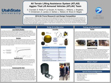 All Terrain Lifting Assistance System (ATLAS) Aggies That Lift Armored Vehicles (ATLAV) Team C. Crandall, D. Webb, P. Le Goubin, N. Hawkes, L. Williams,