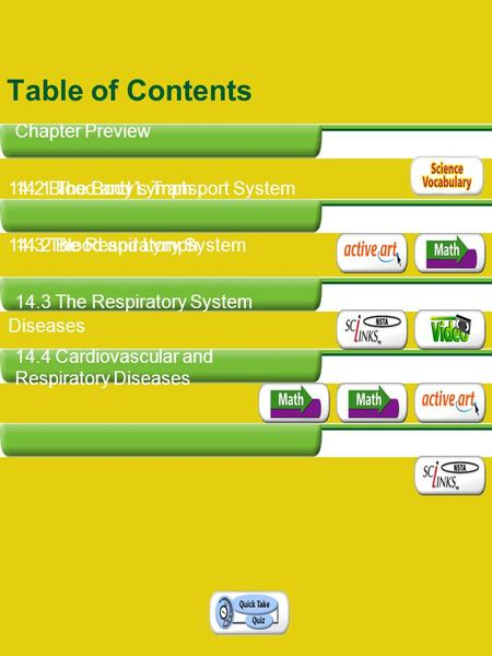 Table of Contents 14.1 The Body's Transport System