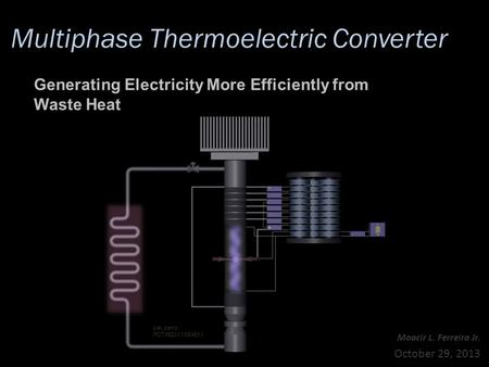 Multiphase Thermoelectric Converter Moacir L. Ferreira Jr. October 29, 2013 Generating Electricity More Efficiently from Waste Heat pat. pend.: PCT/IB2011/054511.