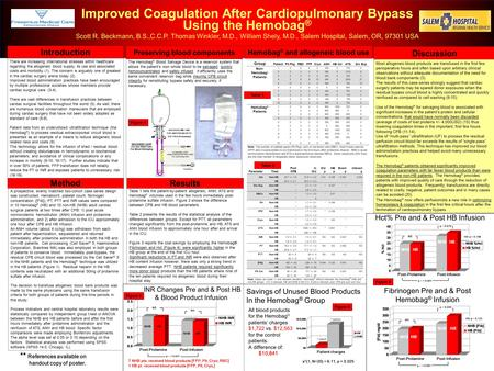 Improved Coagulation After Cardiopulmonary Bypass Using the Hemobag ® Scott R. Beckmann, B.S.,C.C.P. Thomas Winkler, M.D., William Shely, M.D., Salem Hospital,