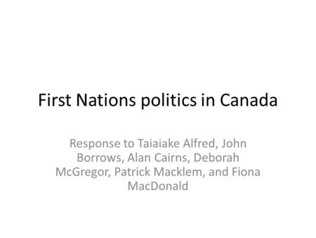 First Nations politics in Canada
