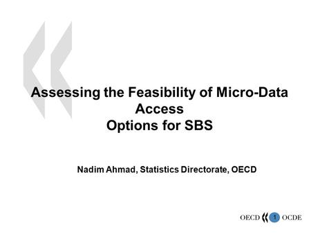 1 Assessing the Feasibility of Micro-Data Access Options for SBS Nadim Ahmad, Statistics Directorate, OECD.