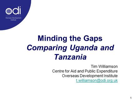 1 Minding the Gaps Comparing Uganda and Tanzania Tim Williamson Centre for Aid and Public Expenditure Overseas Development Institute