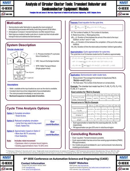 CASE 2010 Analysis of Circular Cluster Tools: Transient Behavior and Semiconductor Equipment Models Analysis of Circular Cluster Tools: Transient Behavior.