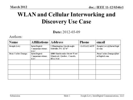 Submission doc.: IEEE 11-12/0346r1 WLAN and Cellular Interworking and Discovery Use Case Date: 2012-03-09 Slide 1Joseph Levy, InterDigital Communications,
