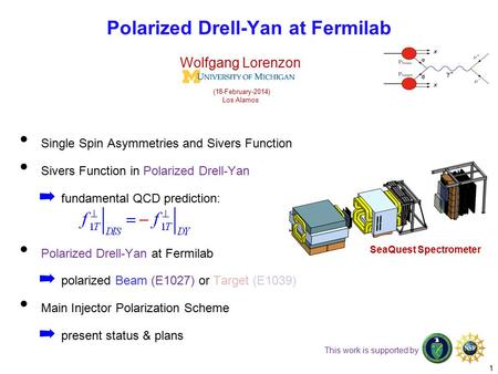 Single Spin Asymmetries and Sivers Function Sivers Function in Polarized Drell-Yan ➡ fundamental QCD prediction: Polarized Drell-Yan at Fermilab ➡ polarized.