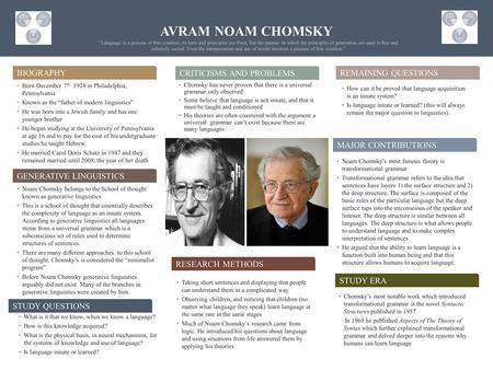 AVRAM NOAM CHOMSKY Biography Criticisms and problems