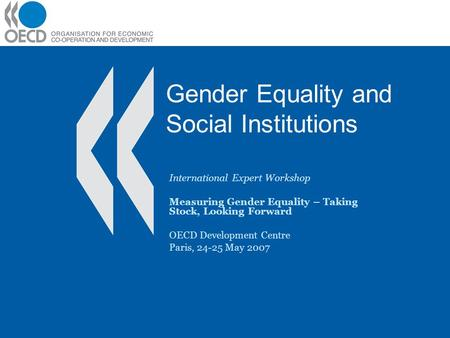 Gender Equality and Social Institutions International Expert Workshop Measuring Gender Equality – Taking Stock, Looking Forward OECD Development Centre.