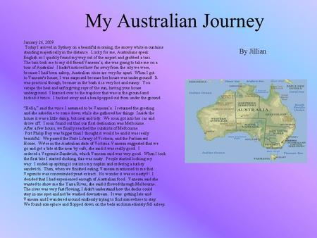 My Australian Journey By Jillian. Melbourne Perth.