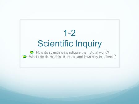 1-2 Scientific Inquiry How do scientists investigate the natural world? What role do models, theories, and laws play in science?