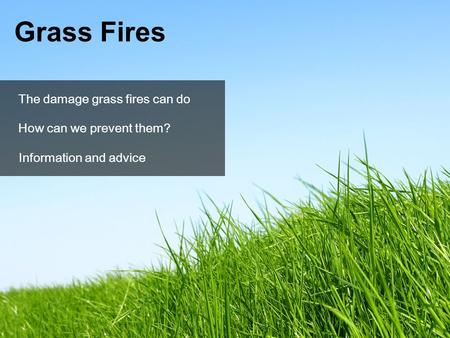 Information and advice Grass Fires The damage grass fires can do How can we prevent them?