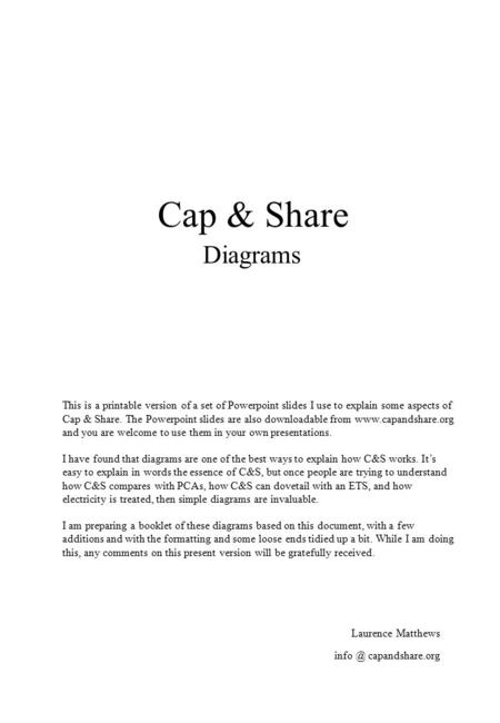 Cap & Share Diagrams Laurence Matthews This is a printable version of a set of Powerpoint slides I use to explain some aspects of Cap & Share. The Powerpoint.