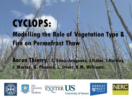 CYCLOPS: Modelling the Role of Vegetation Type & Fire on Permafrost Thaw Aaron Thierry, C. Estop-Aragones, J.Fisher, I.Hartley, J. Murton, G. Phoenix,