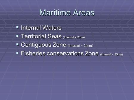 Maritime Areas  Internal Waters  Territorial Seas (Internal +12nm)  Contiguous Zone (internal + 24nm)  Fisheries conservations Zone (internal + 25nm)