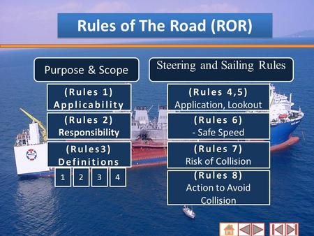 1 Rules of The Road (ROR) Purpose & Scope (Rules 1) (Rules 1) Applicability (Rules 2) Responsibility (Rules 2) Responsibility (Rules3) Definitions Steering.