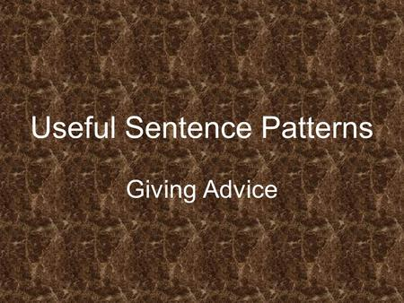 Useful Sentence Patterns