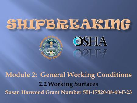 Module 2: General Working Conditions 2.2 Working Surfaces Susan Harwood Grant Number SH-17820-08-60-F-23.