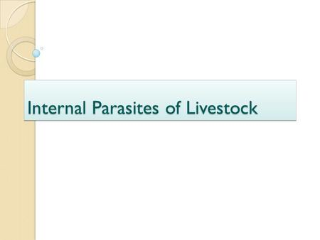Internal Parasites of Livestock