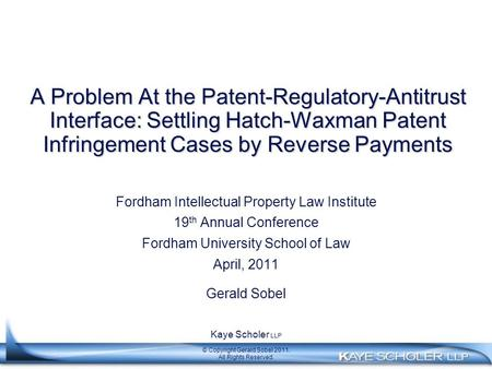 A Problem At the Patent-Regulatory-Antitrust Interface: Settling Hatch-Waxman Patent Infringement Cases by Reverse Payments Fordham Intellectual Property.