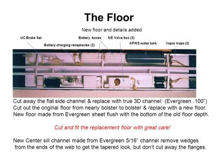 "The Floor Cut away the flat side channel & replace with true 3D channel: (Evergreen.100"") Cut out the original floor from nearly bolster to bolster & replace."