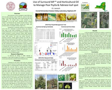 Cornell University's Hudson Valley Laboratory, Highland, NY Use of Surround WP ® and Horticultural Oil to Manage Pear Psylla & Fabraea leaf spot P.J. Jentsch.