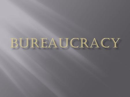 "Bureaucracy literally means ""rule by desks or offices"""