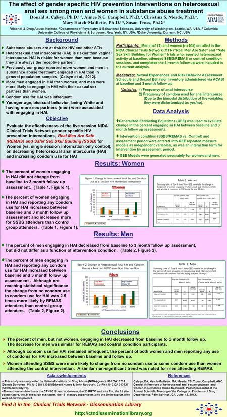 The effect of gender specific HIV prevention interventions on heterosexual anal sex among men and women in substance abuse treatment Donald A. Calsyn,