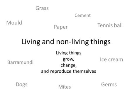 Dogs Living and non-living things Living things grow, change, and reproduce themselves Grass Paper Tennis ball Mites Germs Mould Barramundi Ice cream Cement.
