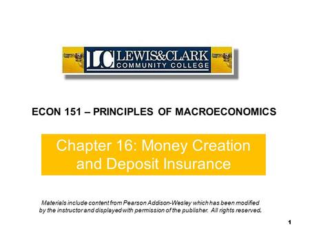 Chapter 16: Money Creation and Deposit Insurance