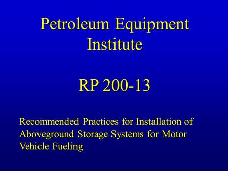 Petroleum Equipment Institute
