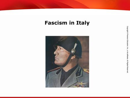 TEKS 8C: Calculate percent composition and empirical and molecular formulas. Fascism in Italy.