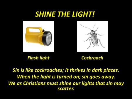 SHINE THE LIGHT! Sin is like cockroaches; it thrives in dark places. When the light is turned on; sin goes away. We as Christians must shine our lights.