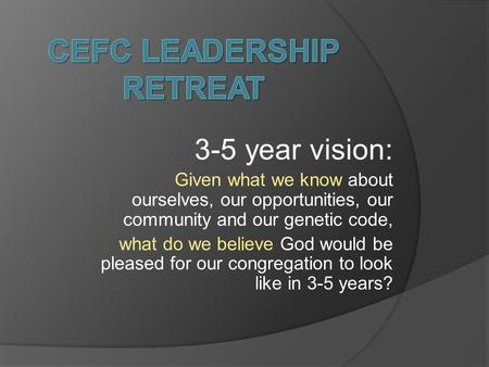3-5 year vision: Given what we know about ourselves, our opportunities, our community and our genetic code, what do we believe God would be pleased for.