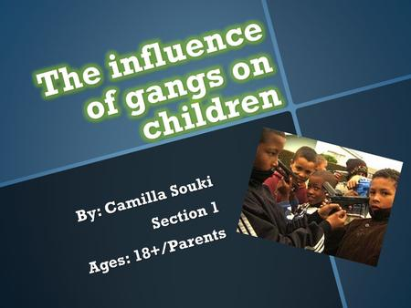 By: Camilla Souki Section 1 Ages: 18+/Parents. What's a gang?  A gang is any group of three or more people who form an allegiance to the exclusion of.