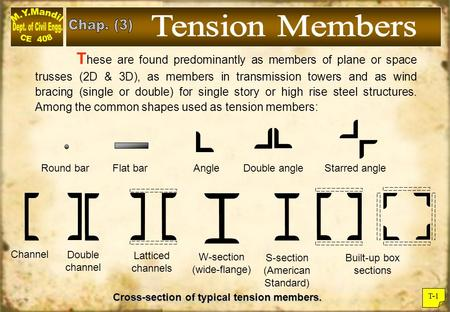Tension Members Chap. (3)