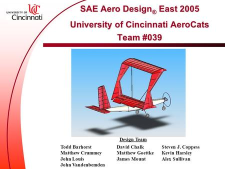SAE Aero Design ® East 2005 University of Cincinnati AeroCats Team #039 SAE Aero Design ® East 2005 University of Cincinnati AeroCats Team #039 Design.